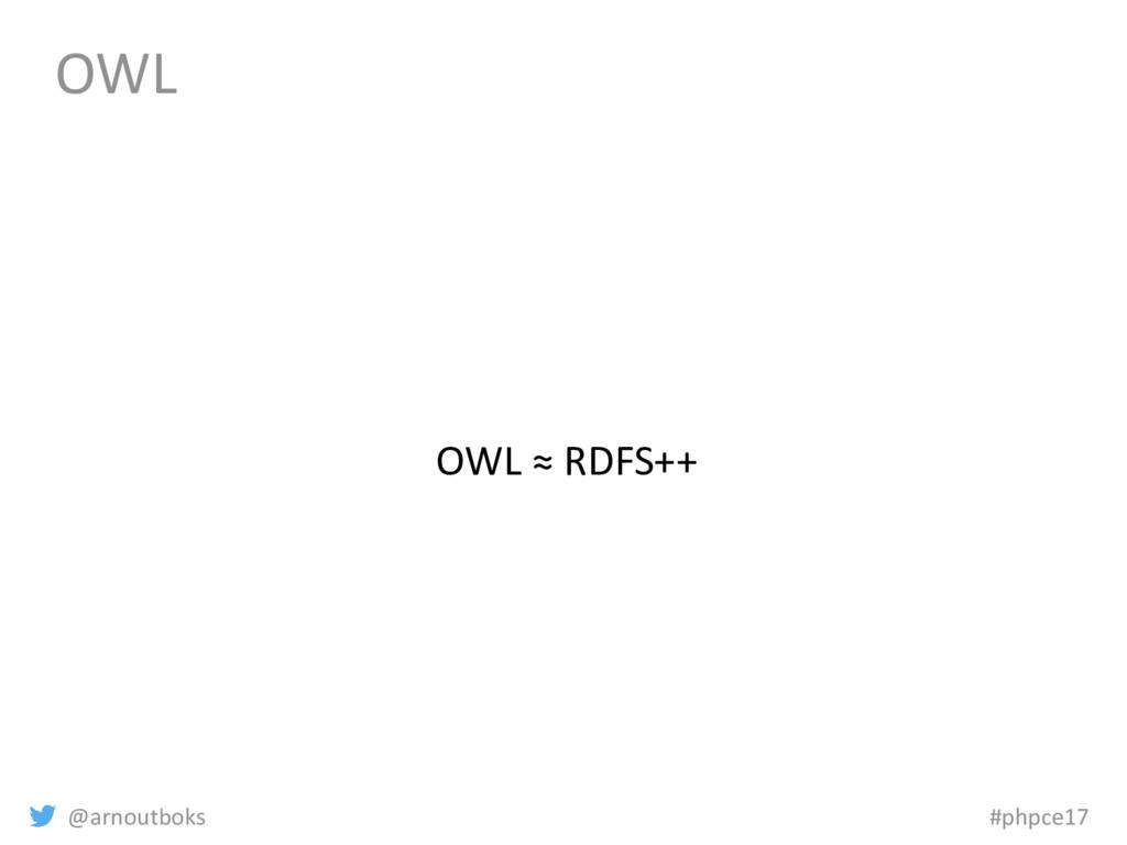 @arnoutboks #phpce17 OWL OWL ≈ RDFS++