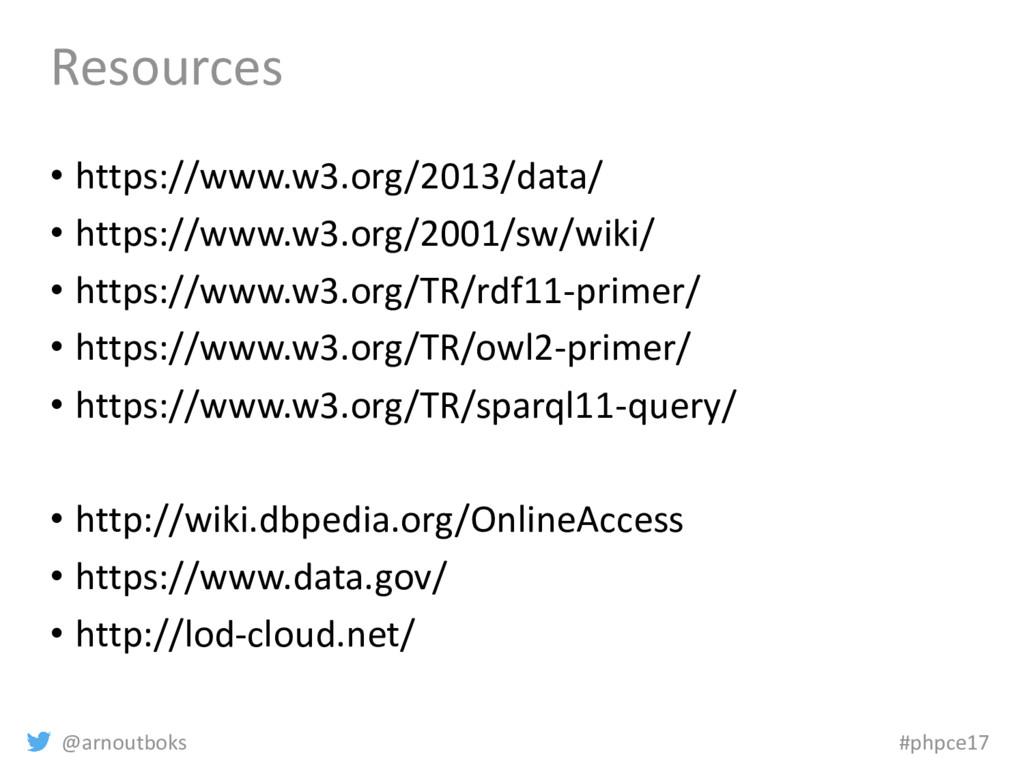 @arnoutboks #phpce17 Resources • https://www.w3...