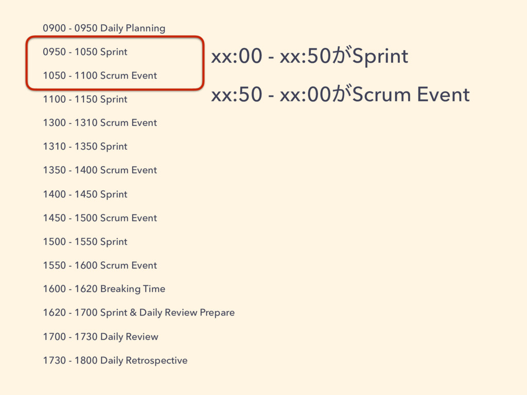 0900 - 0950 Daily Planning 0950 - 1050 Sprint 1...