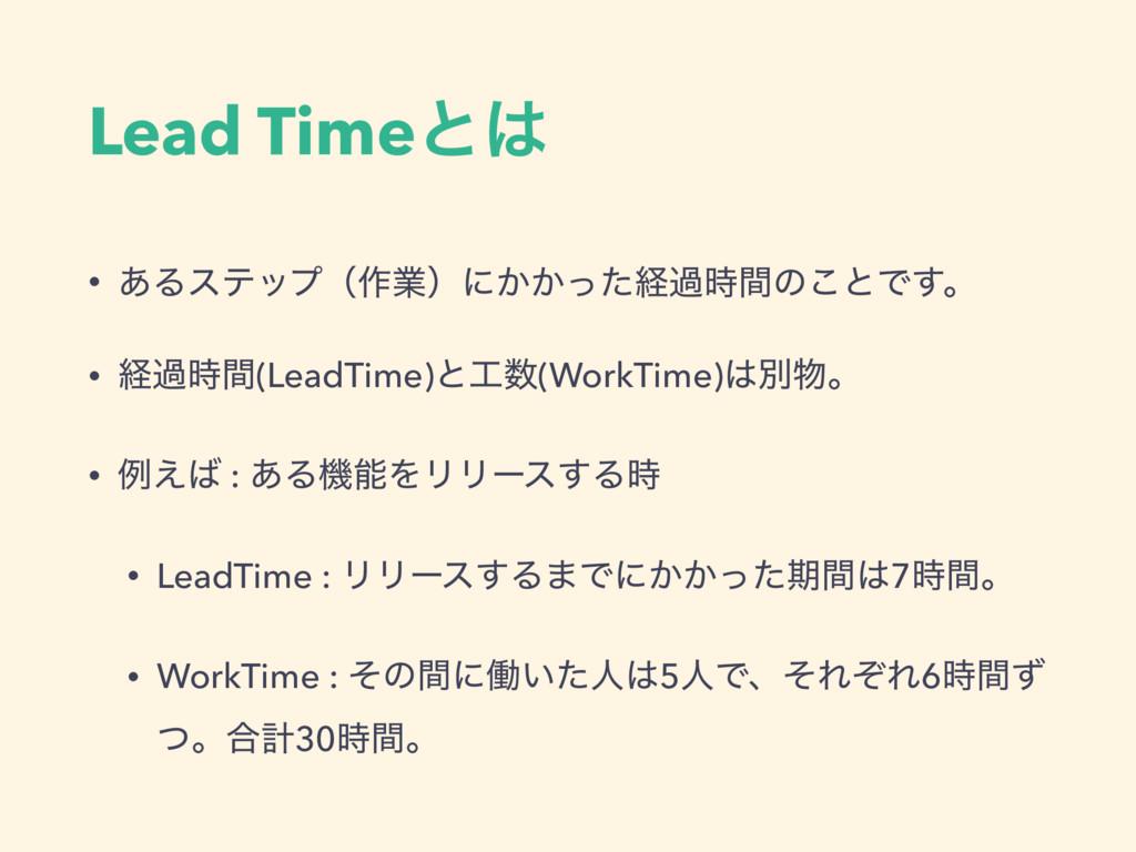 Lead Timeͱ • ͋Δεςοϓʢ࡞ۀʣʹ͔͔ͬͨܦաؒͷ͜ͱͰ͢ɻ • ܦաؒ(...