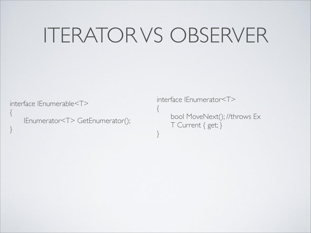 ITERATOR VS OBSERVER interface IEnumerable<T> {...