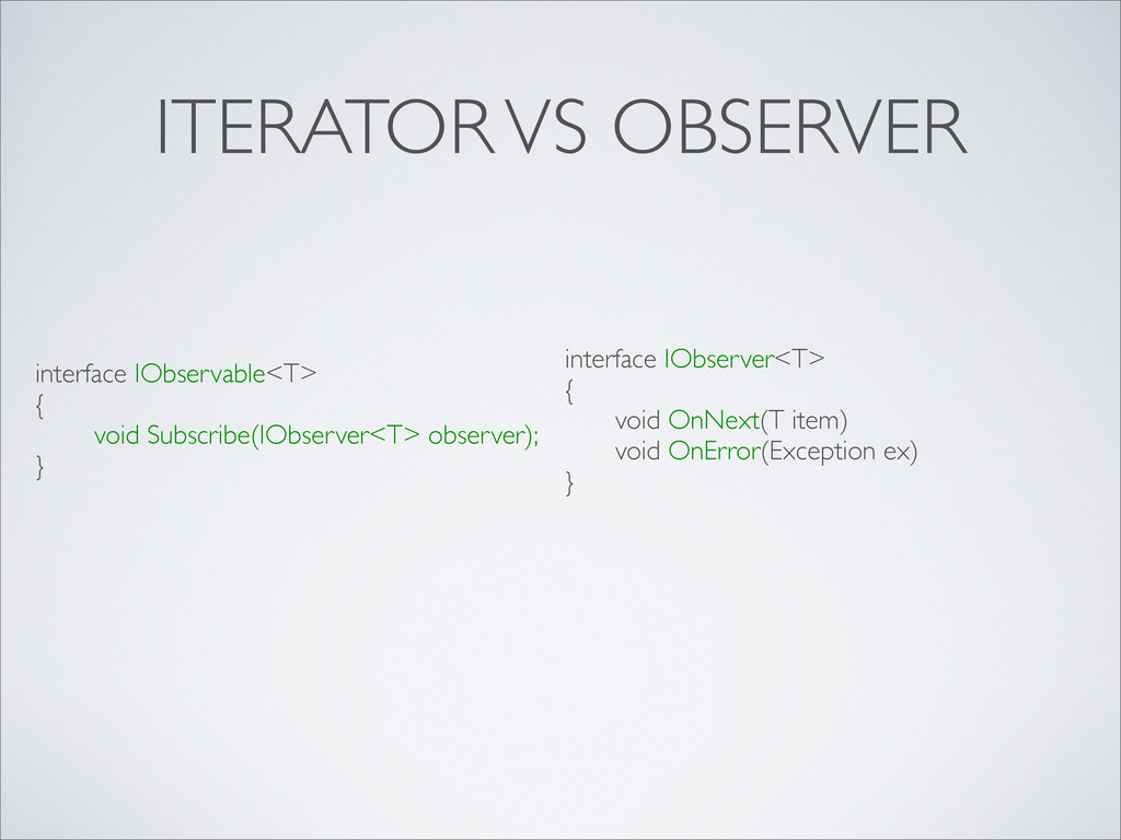 ITERATOR VS OBSERVER interface IObservable<T> {...