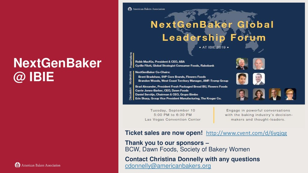 NextGenBaker @ IBIE Ticket sales are now open! ...