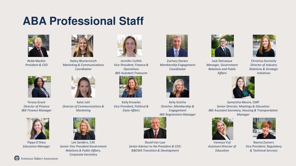 ABA Professional Staff Robb MacKie President & ...