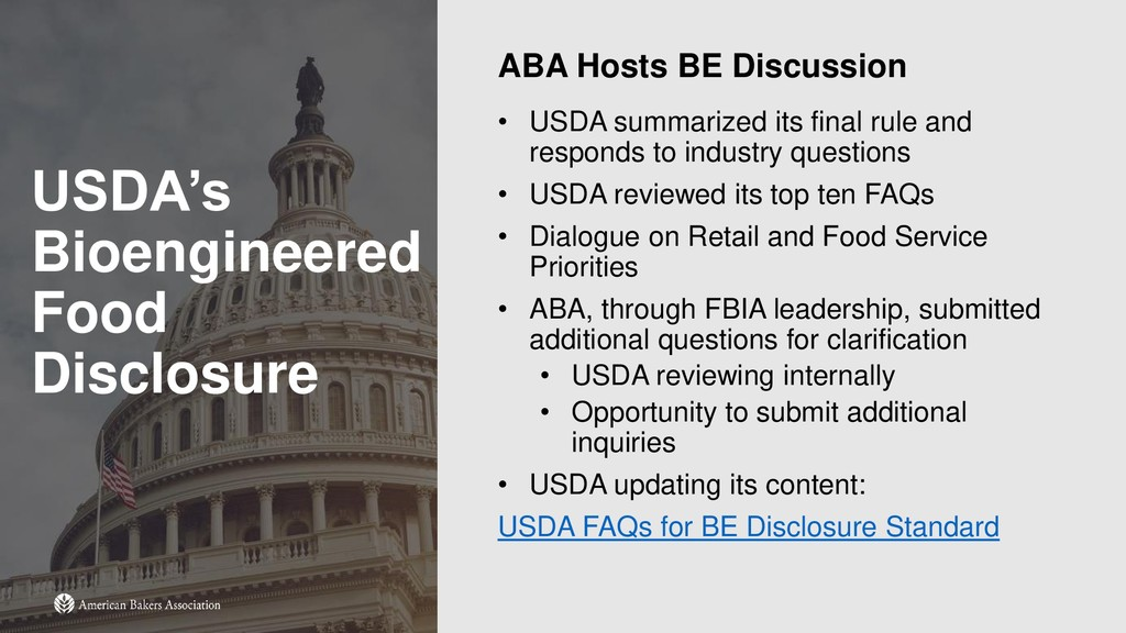 USDA's Bioengineered Food Disclosure ABA Hosts ...