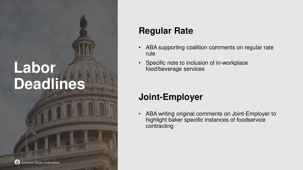 Labor Deadlines Regular Rate • ABA supporting c...