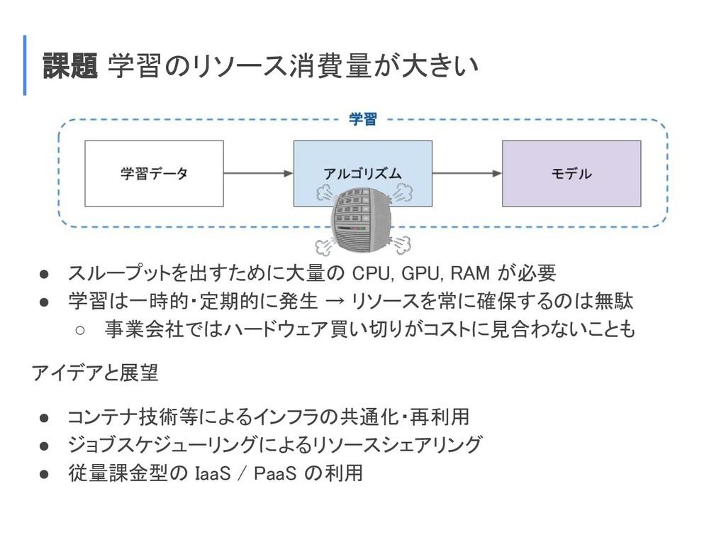 課題 学習のリソース消費量が大きい ● スループットを出すために大量の CPU, GPU, R...