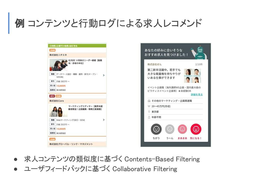 例 コンテンツと行動ログによる求人レコメンド ● 求人コンテンツの類似度に基づく Conten...