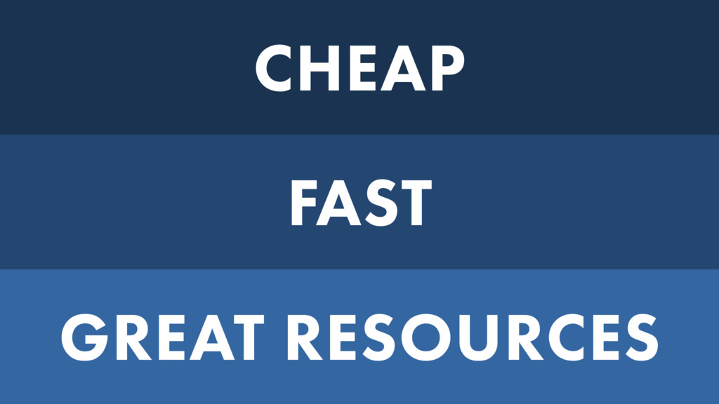 CHEAP FAST GREAT RESOURCES