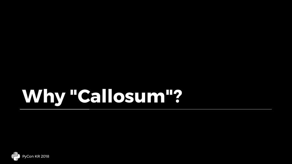 "Why ""Callosum""? PyCon KR 2018"