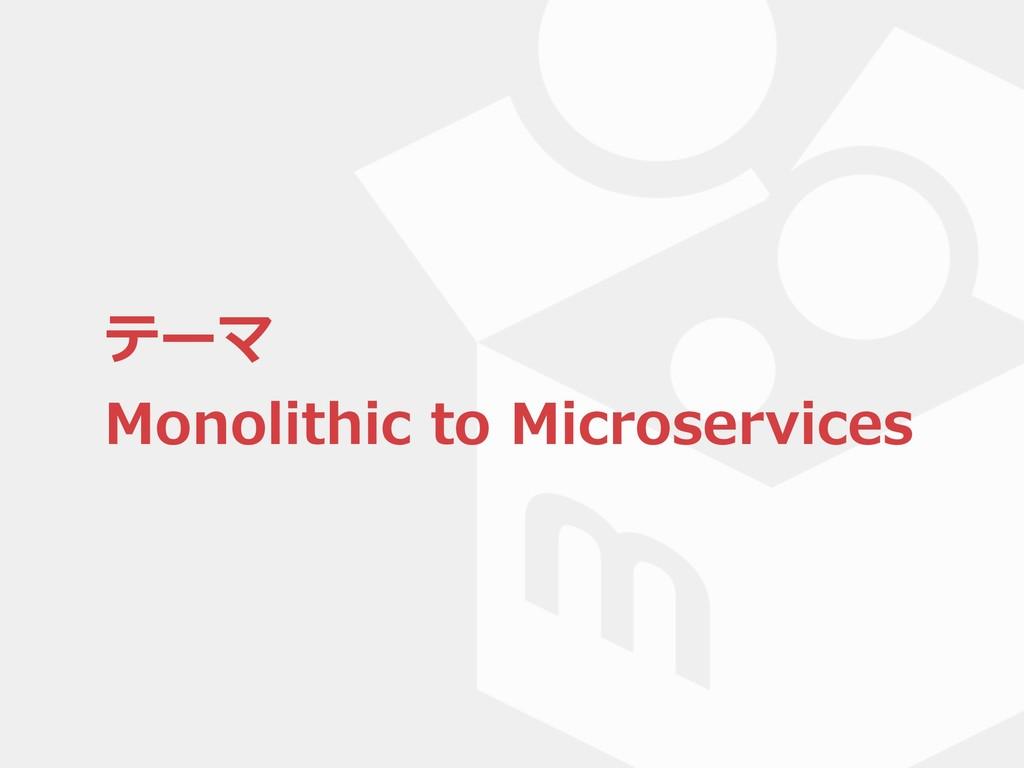 テーマ Monolithic to Microservices