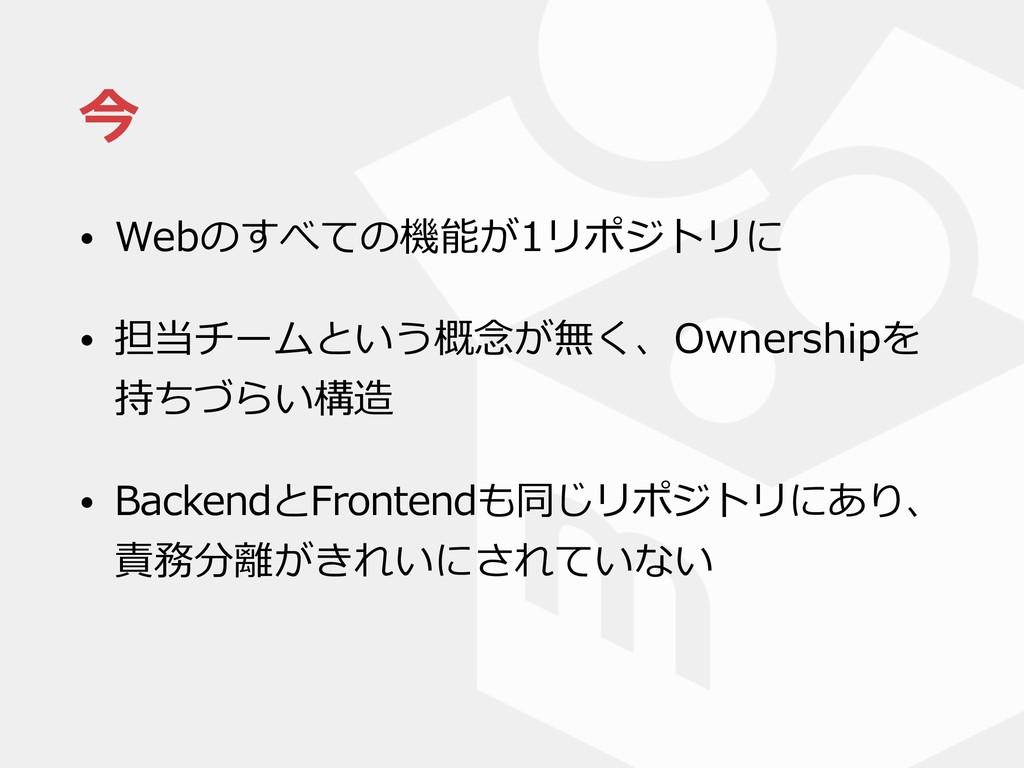 今 • Webのすべての機能が1リポジトリに • 担当チームという概念が無く、Ownershi...