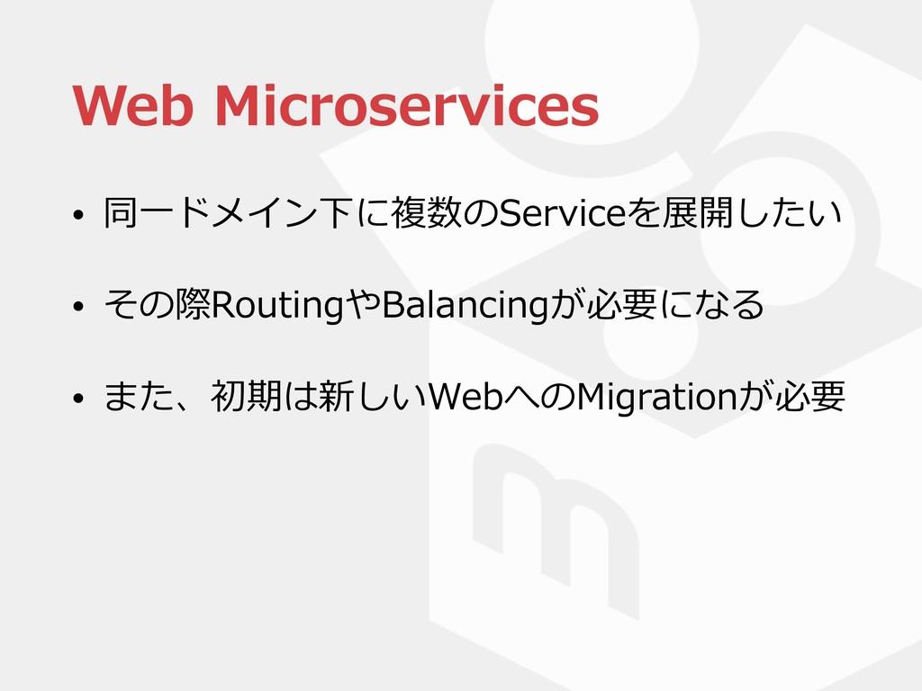 Web Microservices • 同⼀ドメイン下に複数のServiceを展開したい • ...