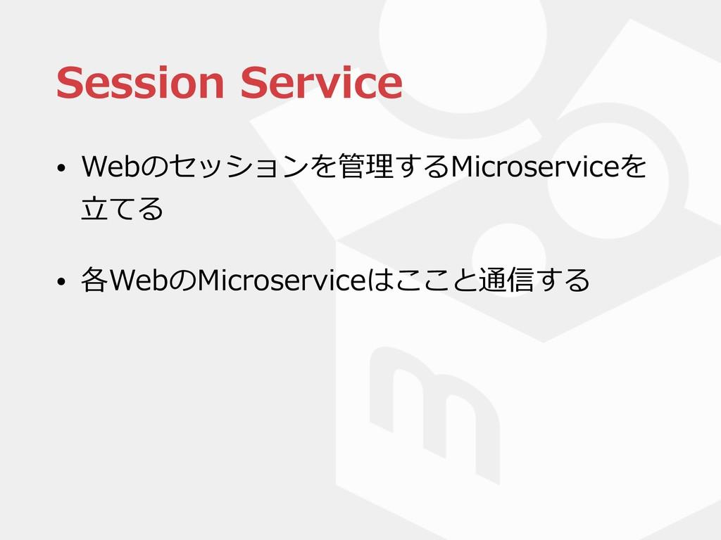Session Service • Webのセッションを管理するMicroserviceを ⽴...