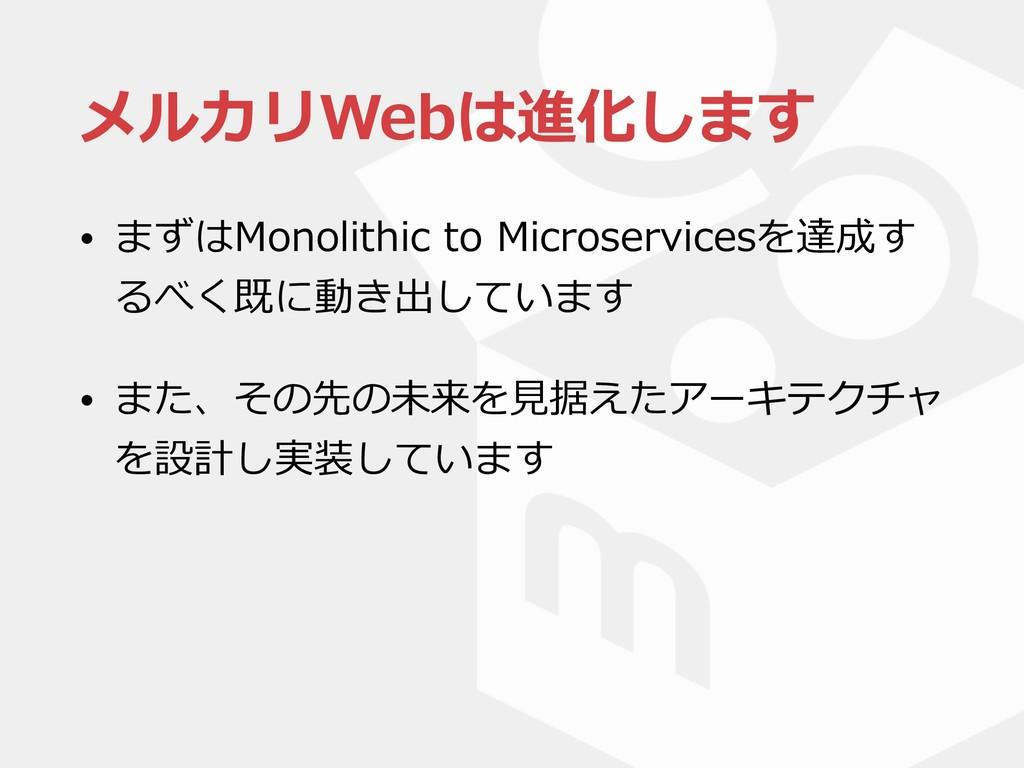 メルカリWebは進化します • まずはMonolithic to Microservicesを...