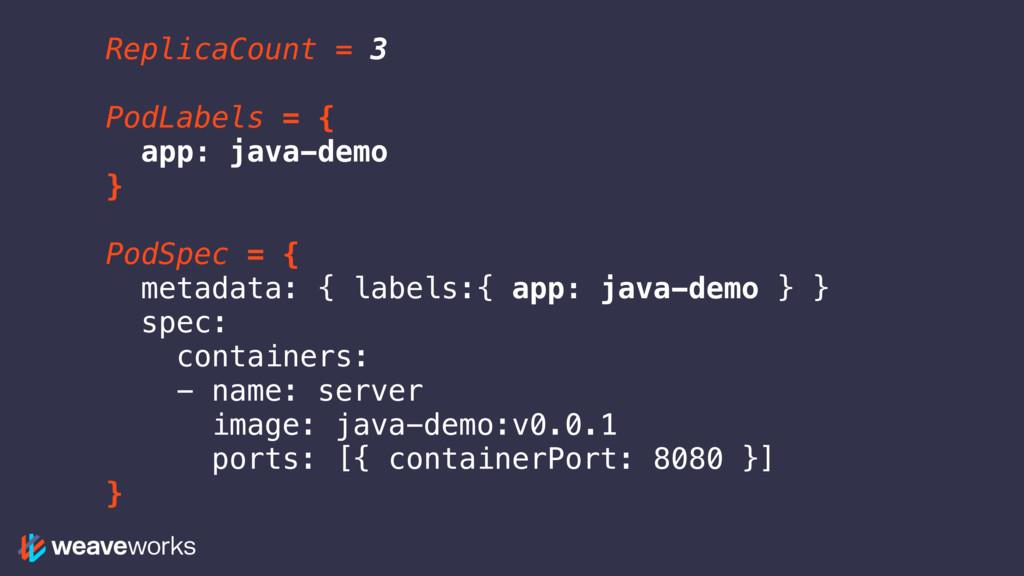 ReplicaCount = 3 PodLabels = { app: java-demo }...