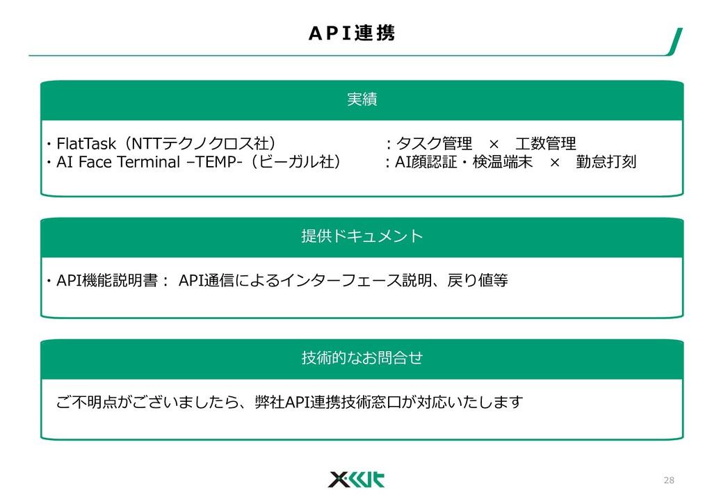 A P I 連 携 28 実績 ・FlatTask(NTTテクノクロス社) :タスク管理 × ...