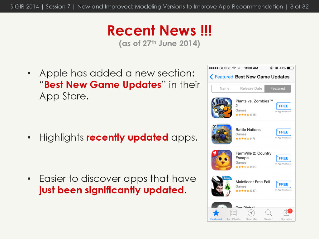 Recent News !!! (as of 27th June 2014) •  Apple...