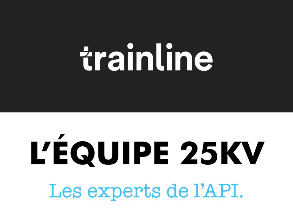 L'ÉQUIPE 25KV Les experts de l'API.