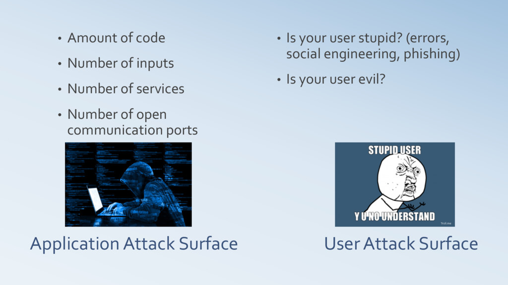 User Attack Surface • Amount of code • Number o...