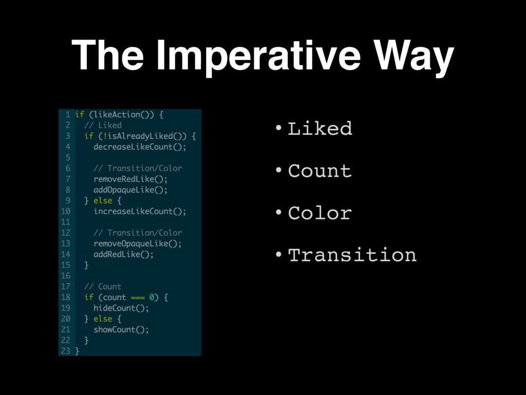 The Imperative Way • Liked • Count • Color • Tr...