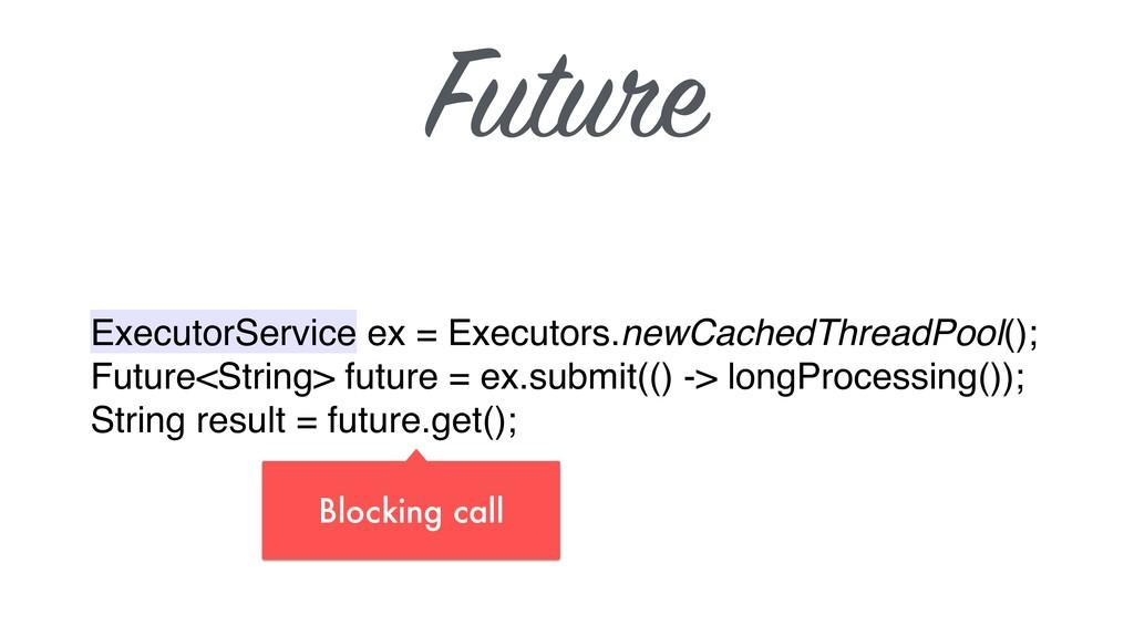 Future ExecutorService ex = Executors.newCached...