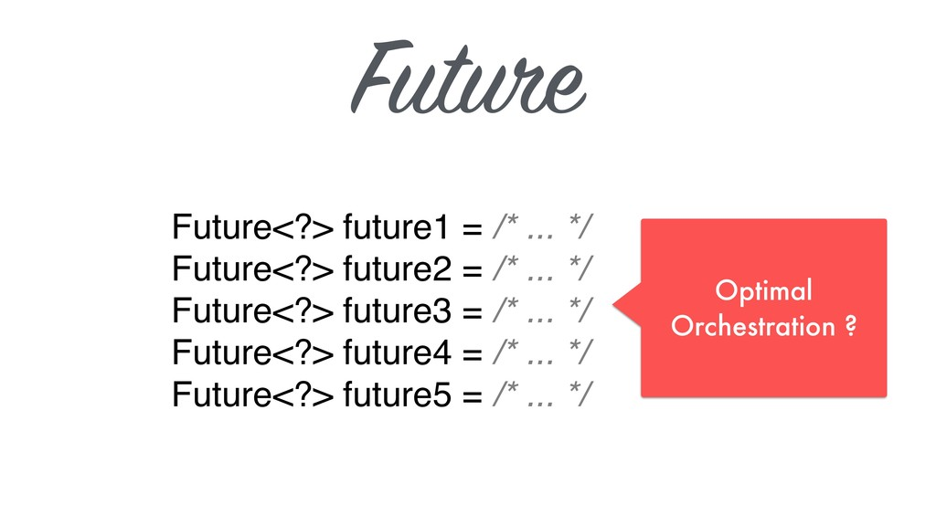 Future Future<?> future1 = /* ... */ Future<?>...
