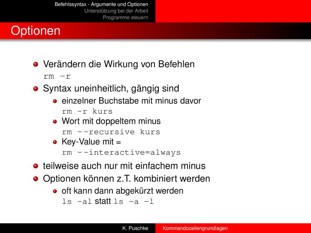 Befehlssyntax - Argumente und Optionen Unterstü...