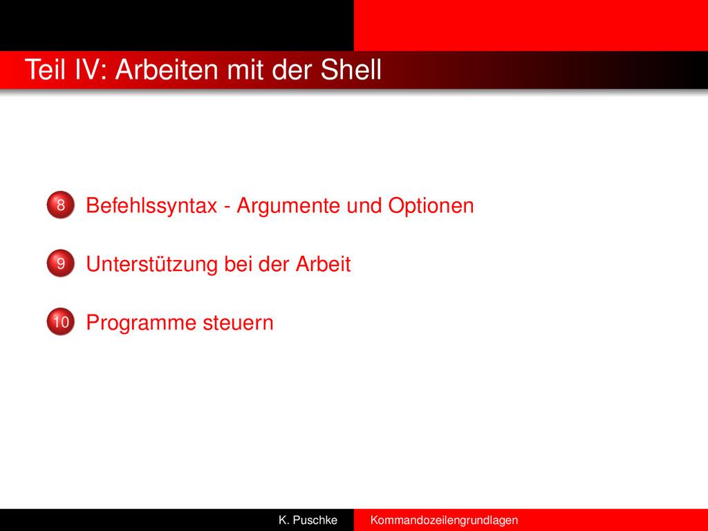 Teil IV: Arbeiten mit der Shell 8 Befehlssyntax...