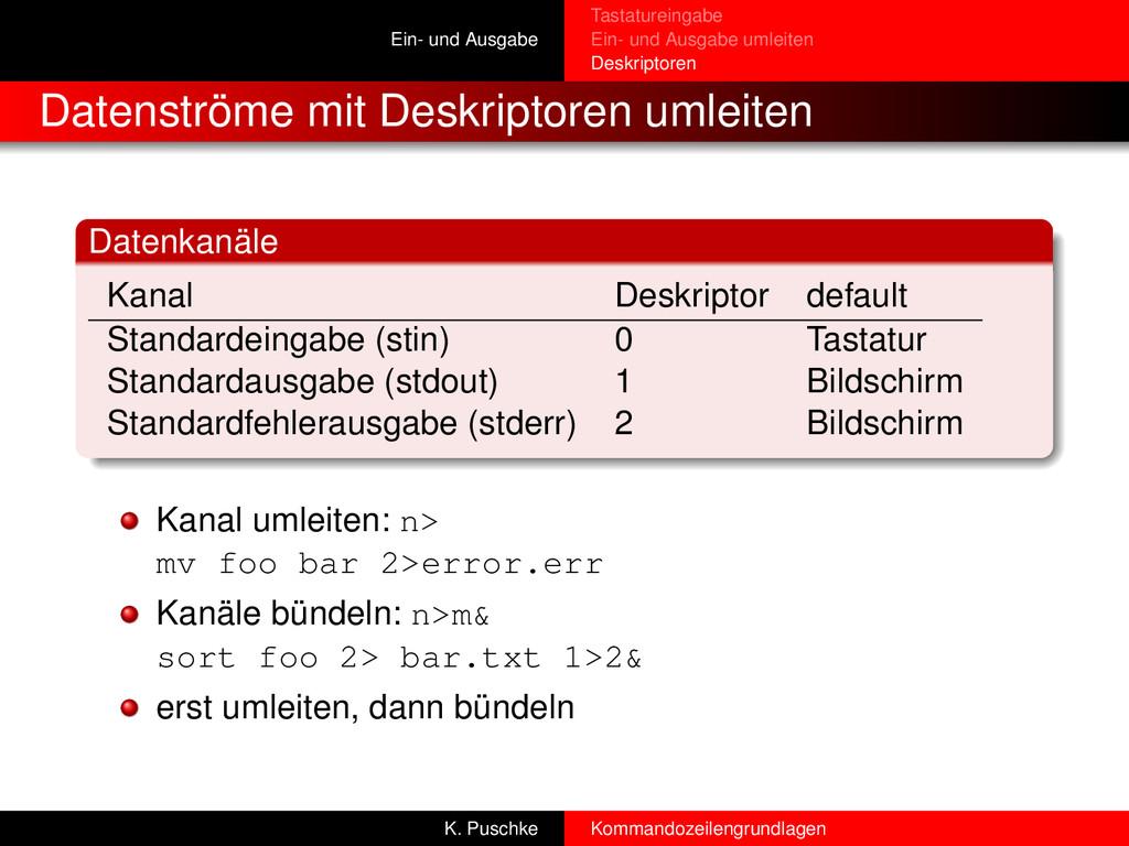 Ein- und Ausgabe Tastatureingabe Ein- und Ausga...