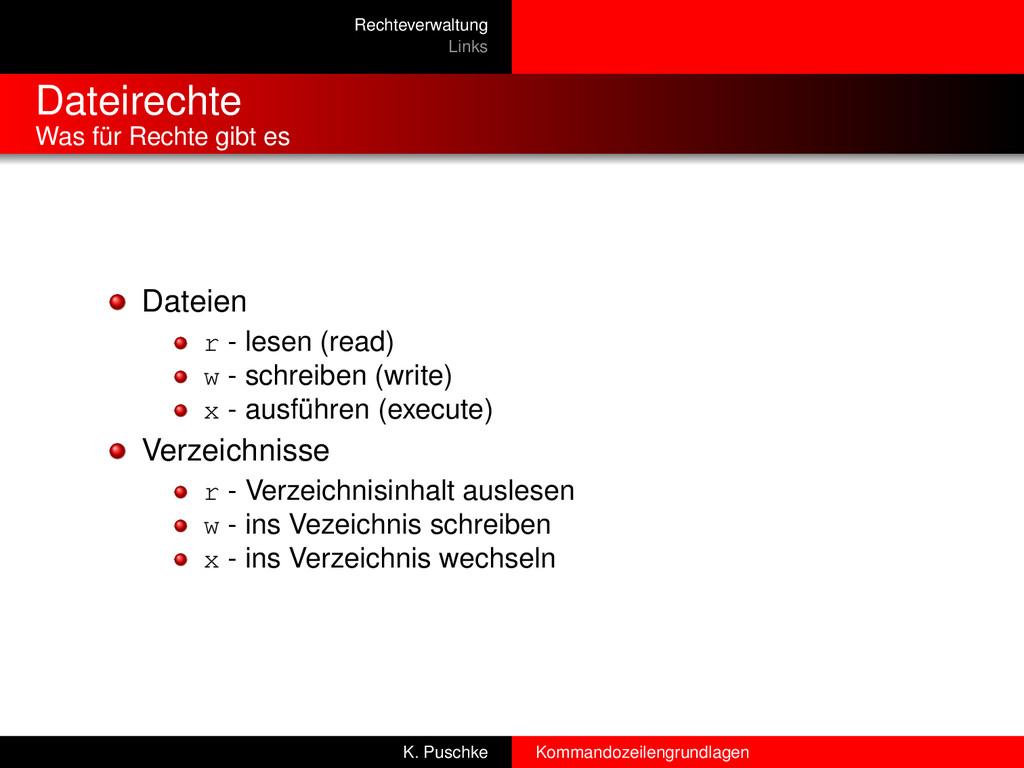 Rechteverwaltung Links Dateirechte Was für Rech...