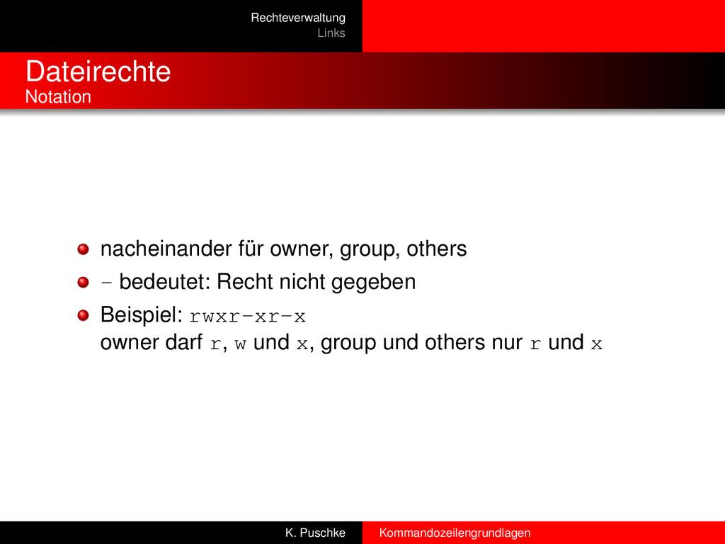 Rechteverwaltung Links Dateirechte Notation nac...