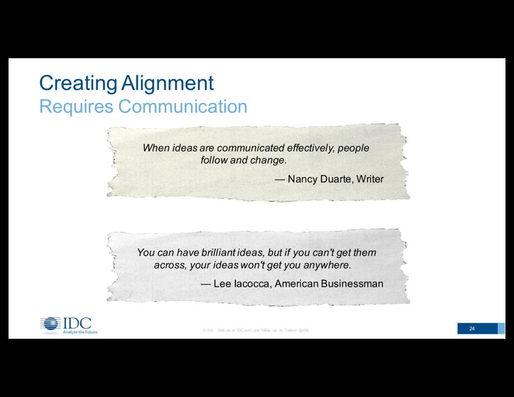 Creating Alignment Requires Communication 24 ...