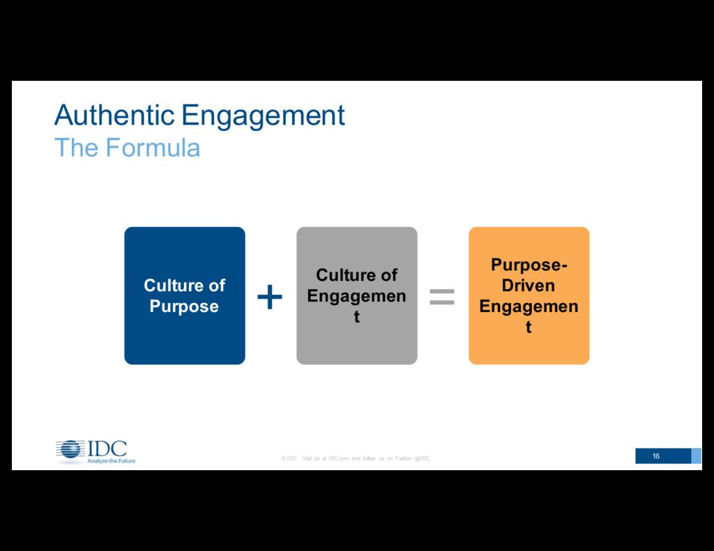 Authentic Engagement The Formula © IDC    ...