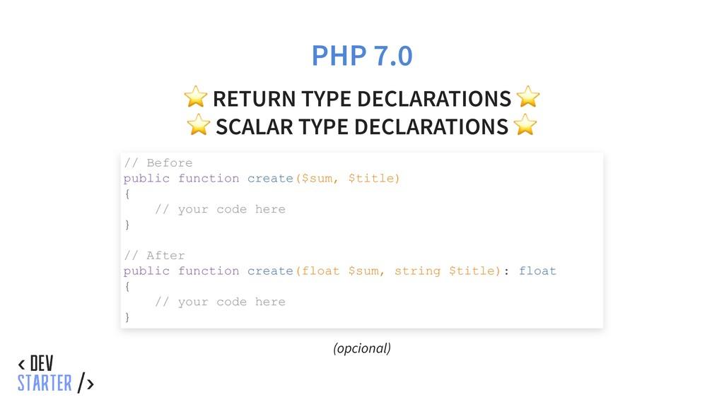 PHP 7.0 ⭐ RETURN TYPE DECLARATIONS ⭐ ⭐ SCALAR T...