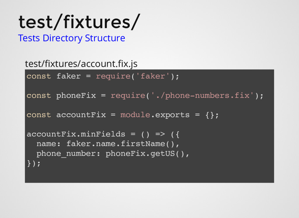 test/fixtures/ Tests Directory Structure test/fi...