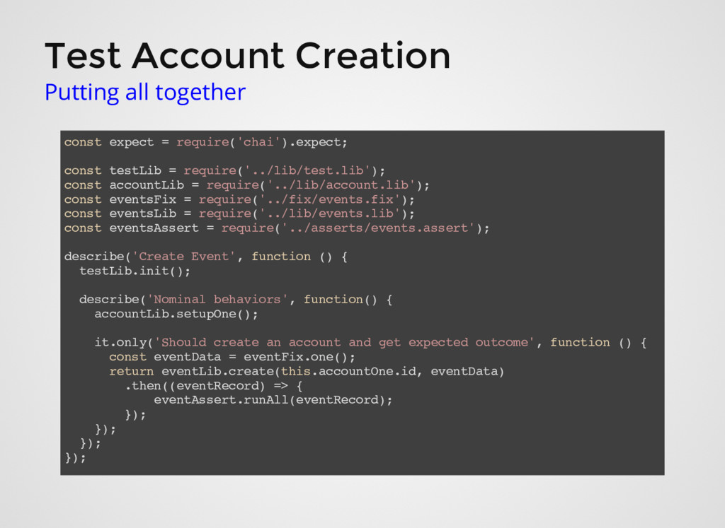 Test Account Creation Putting all together cons...
