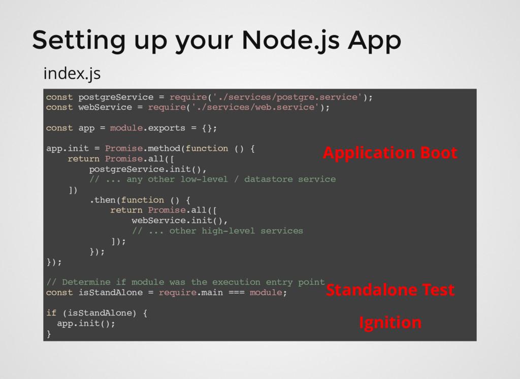 Setting up your Node.js App const postgreServic...