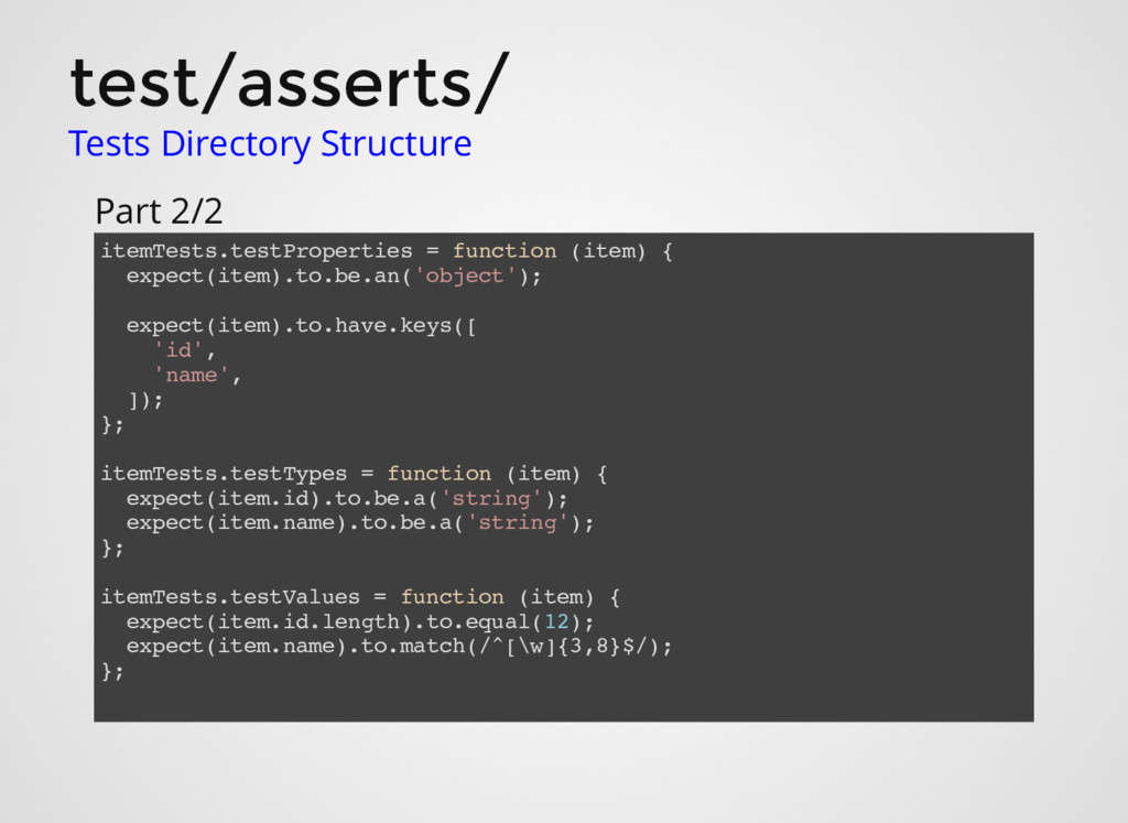 test/asserts/ Tests Directory Structure itemTes...