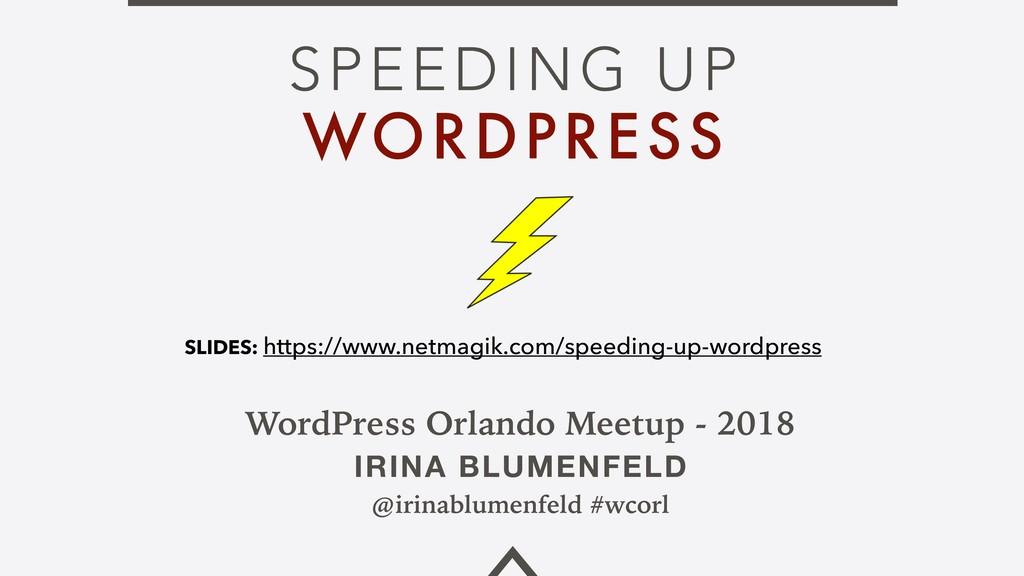 SPEEDING UP WORDPRESS WordPress Orlando Meetup ...