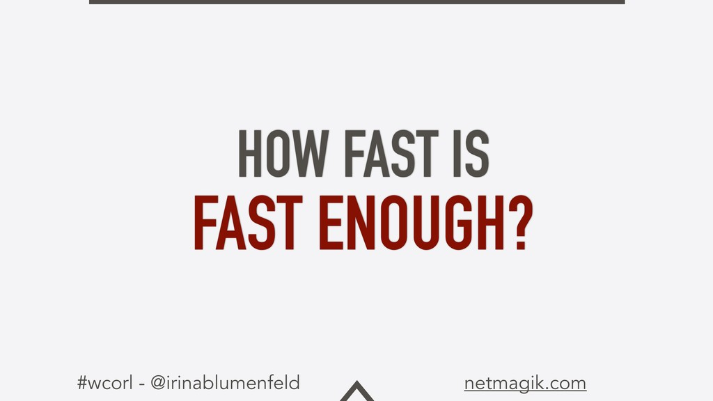 #wcorl - @irinablumenfeld netmagik.com HOW FAST...