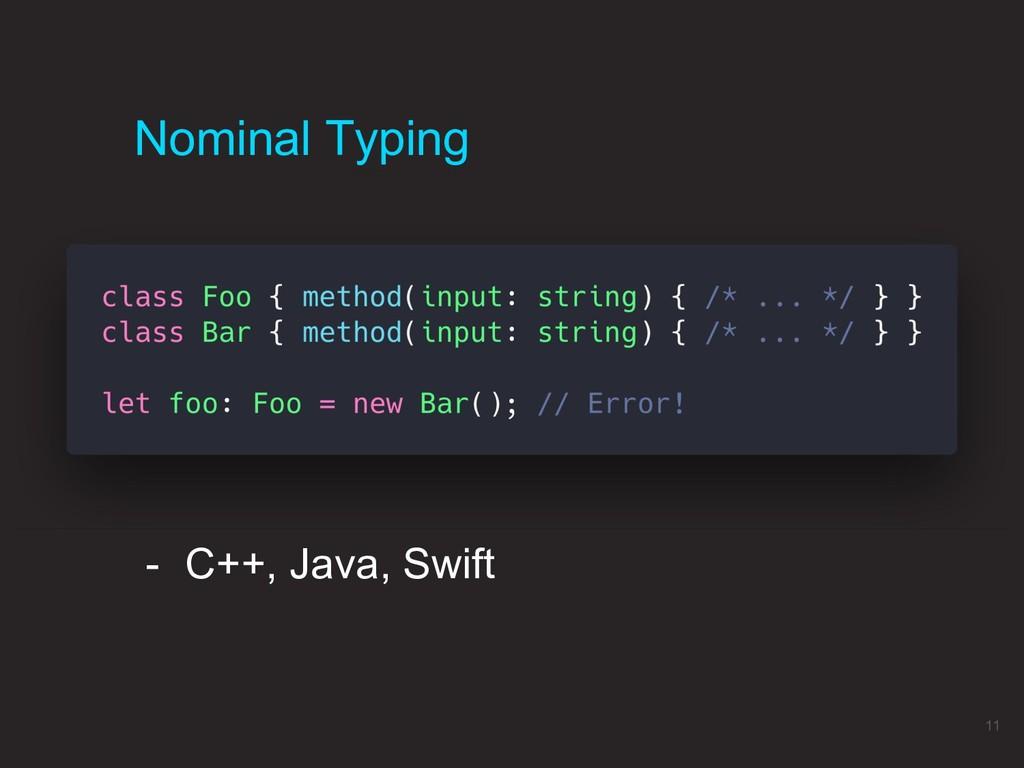 Nominal Typing 11 - C++, Java, Swift