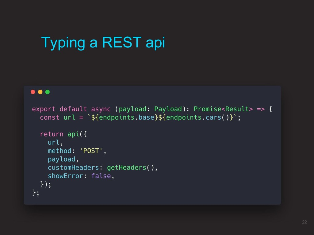 Typing a REST api 22