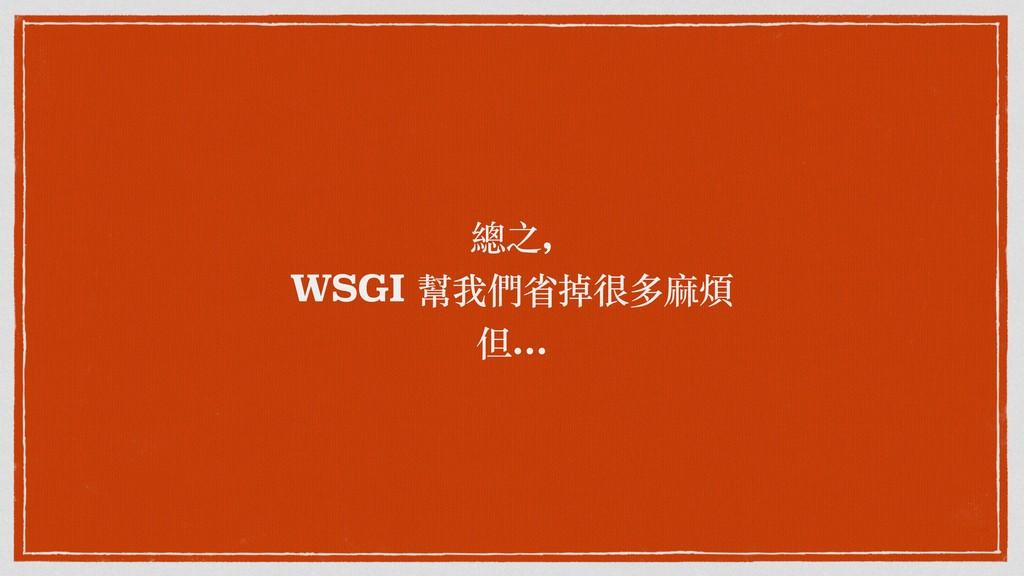 總之, WSGI 幫我們省掉很多麻煩 但...