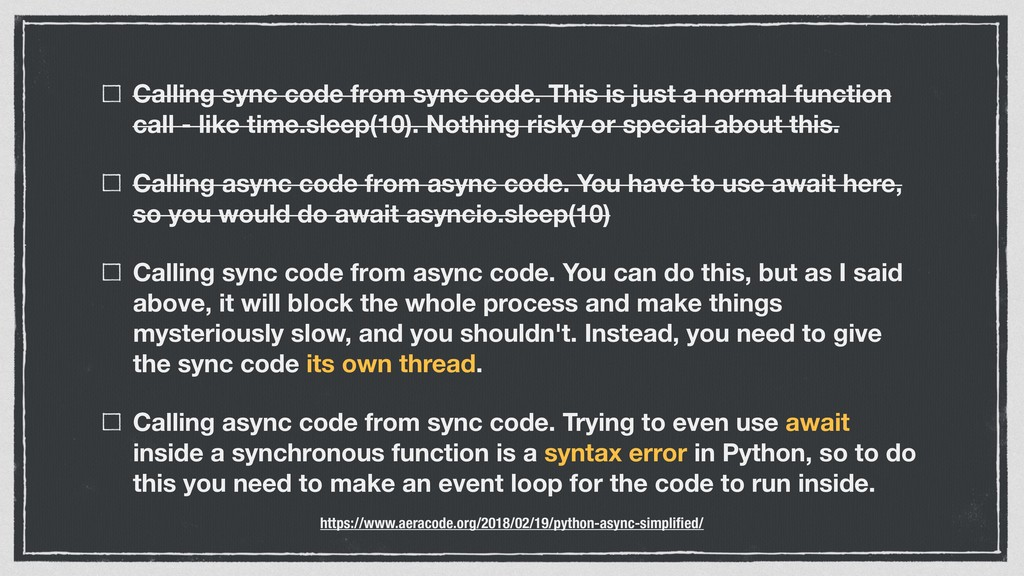 Calling sync code from sync code. This is just ...