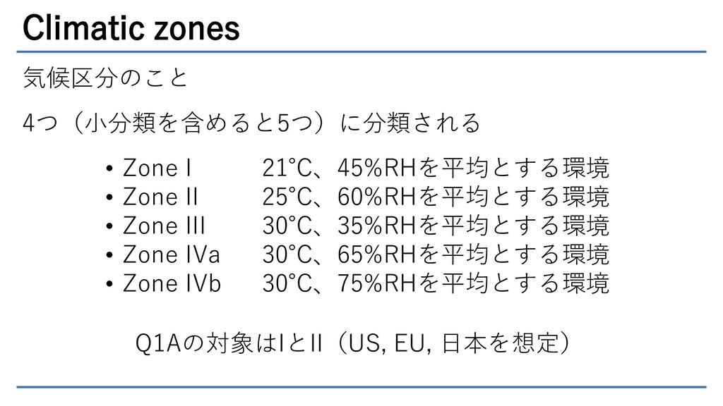Climatic zones 気候区分のこと 4つ(小分類を含めると5つ)に分類される • Z...
