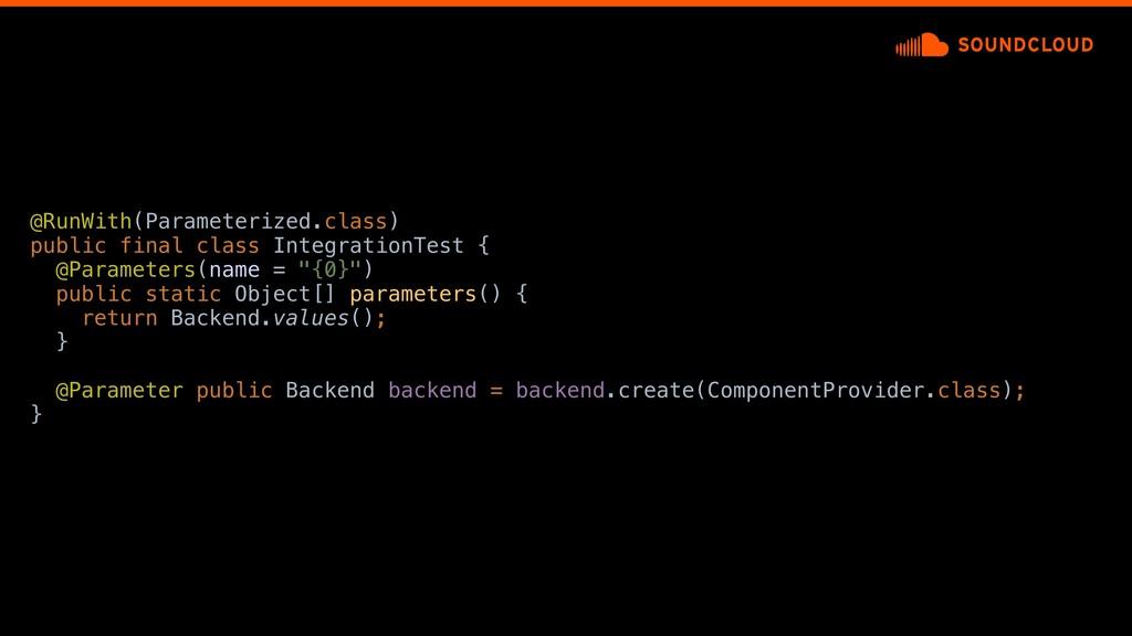 @RunWith(Parameterized.class) public final clas...