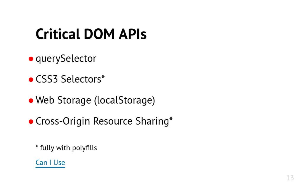 Critical DOM APIs ●querySelector ●CSS3 Selector...