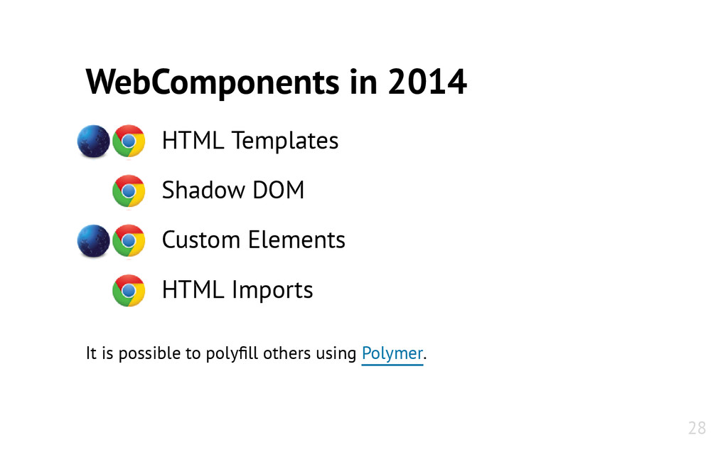 WebComponents in 2014 HTML Templates Shadow DOM...