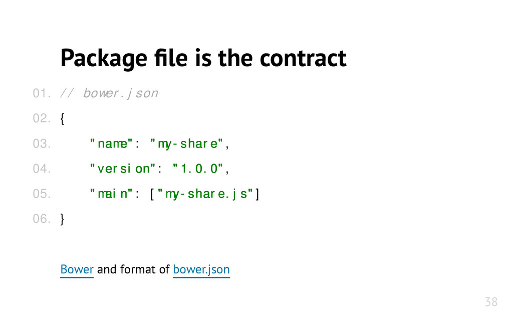 "Package file is the contract // bower.json { ""n..."